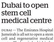 Dubai to stem cell medical centre - Emirates Hospital